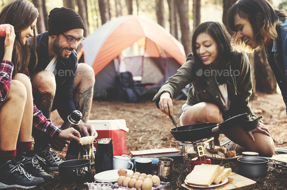 Backpacker Camping Hiking Journey Travel Trek Concept - Stock Photo - Images