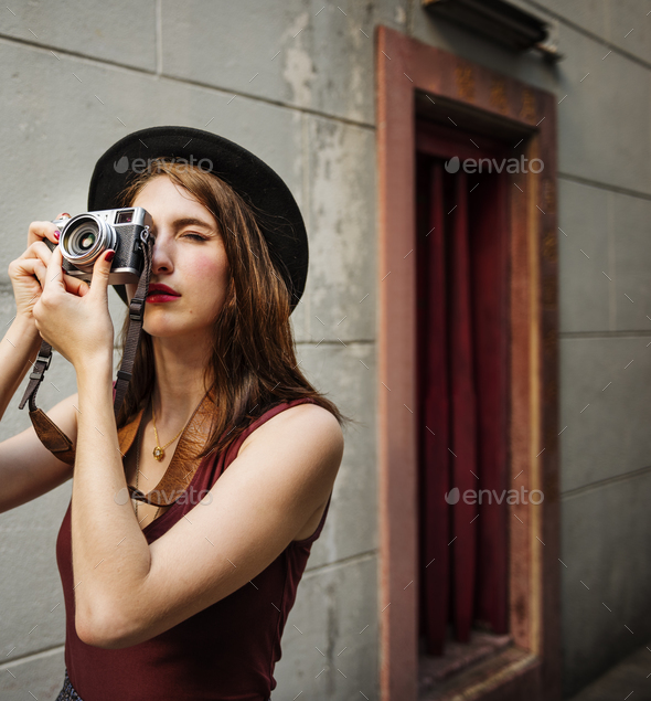 Girl Casual Camera Activity Photographer Leisure Concept - Stock Photo - Images