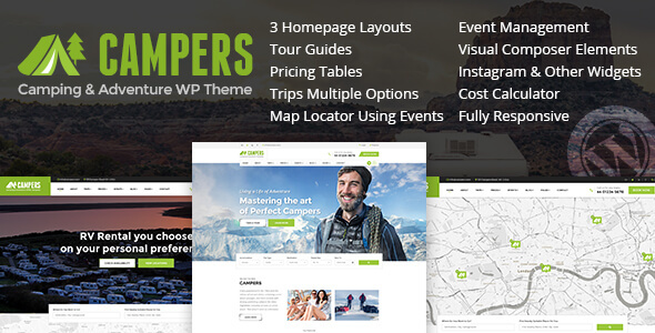Campers - Camp Ground, Caravan & Adventure WordPress Theme - Travel Retail