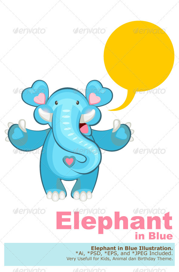 Blue Elephant Welcoming - Animals Characters