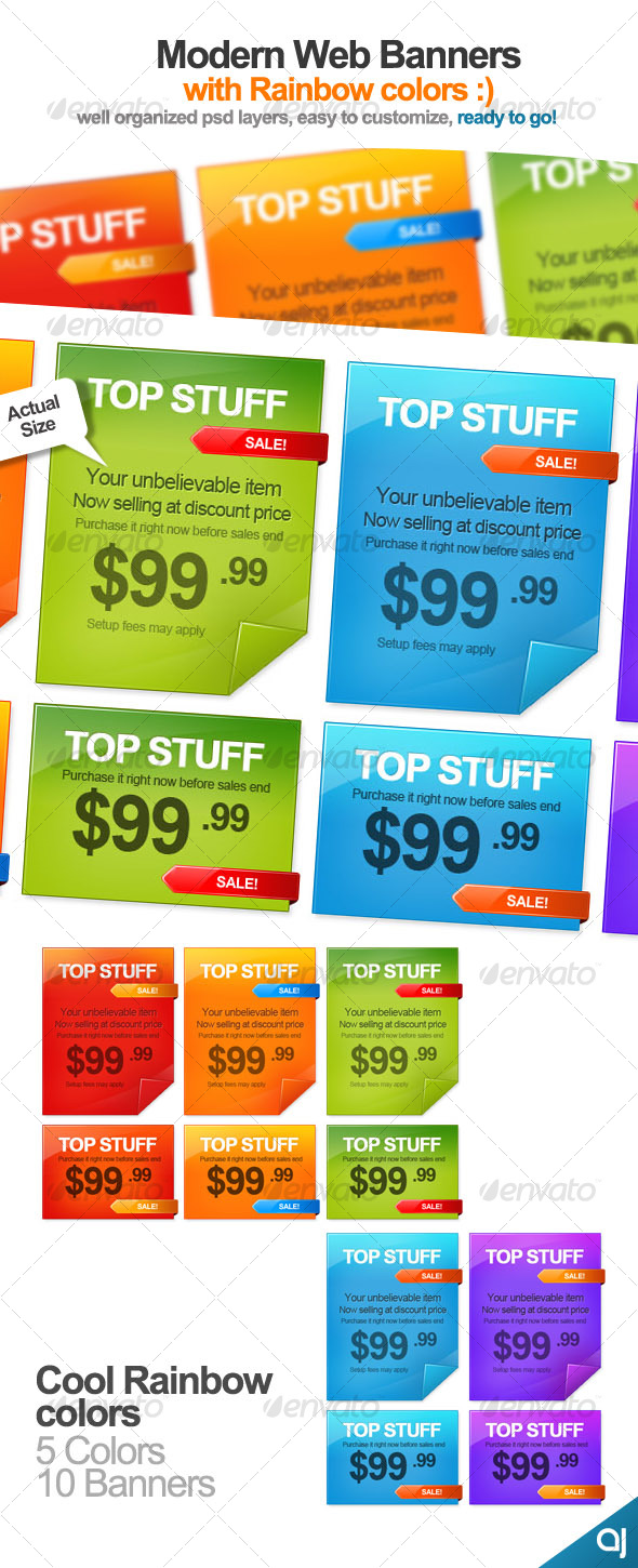 Rainbow color 10 Web Banners  - Web Elements