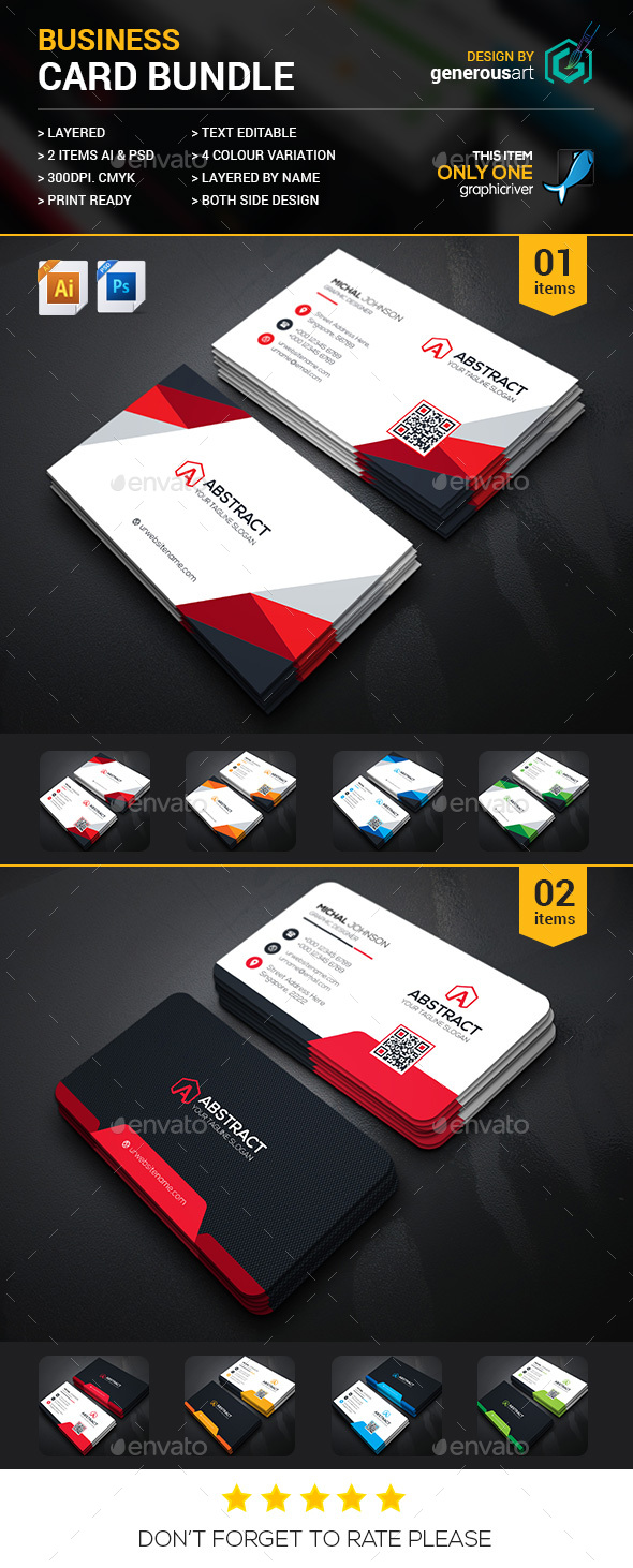 Business Card Bundle 2 in 1 by generousart | GraphicRiver