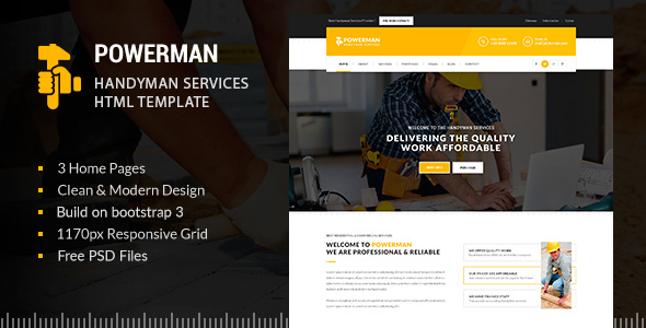 POWERMAN - Handyman Services HTML - Business Corporate
