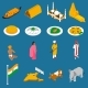 Indian Touristic Attractions Isometric Icons