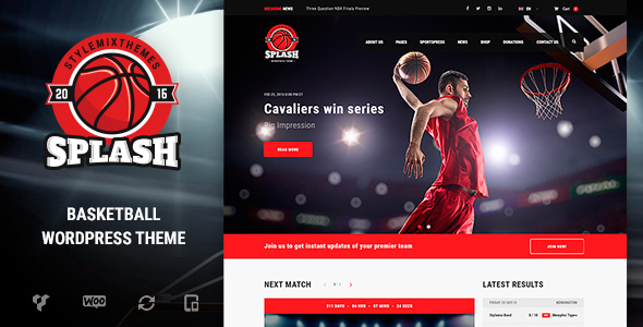 Splash – Basketball, Sports WordPress Theme