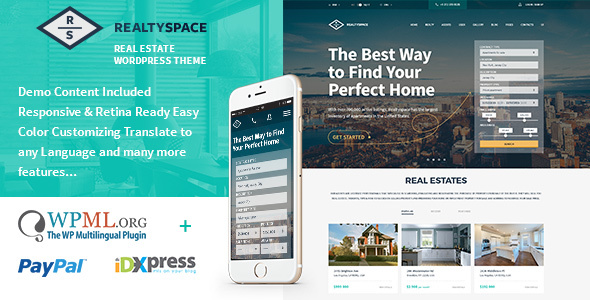 Realtyspace - Real estate WordPress Theme