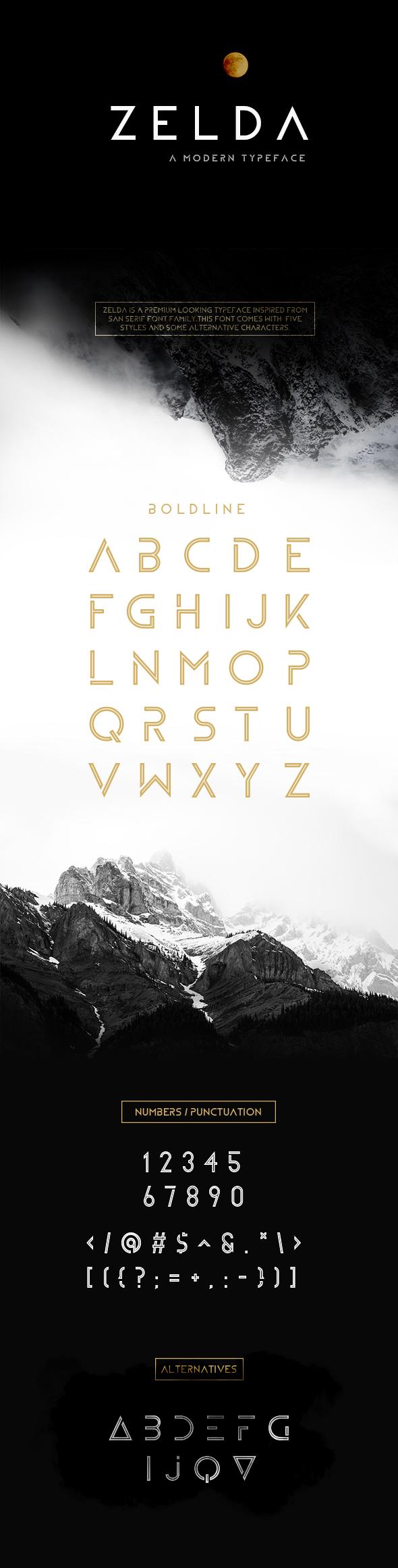 Zelda Typeface (Boldline) - Sans-Serif Fonts