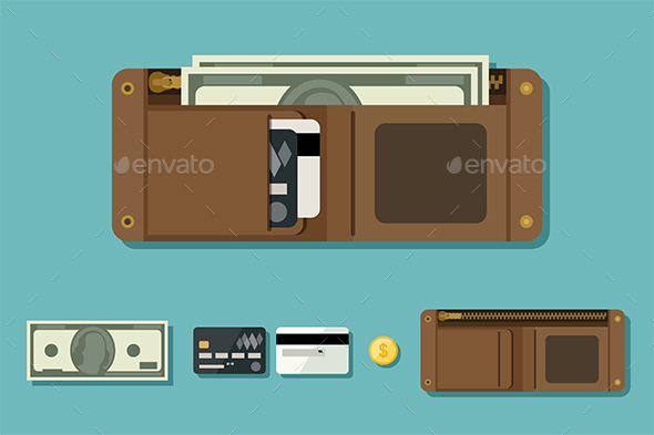 Wallet with Money - Miscellaneous Vectors