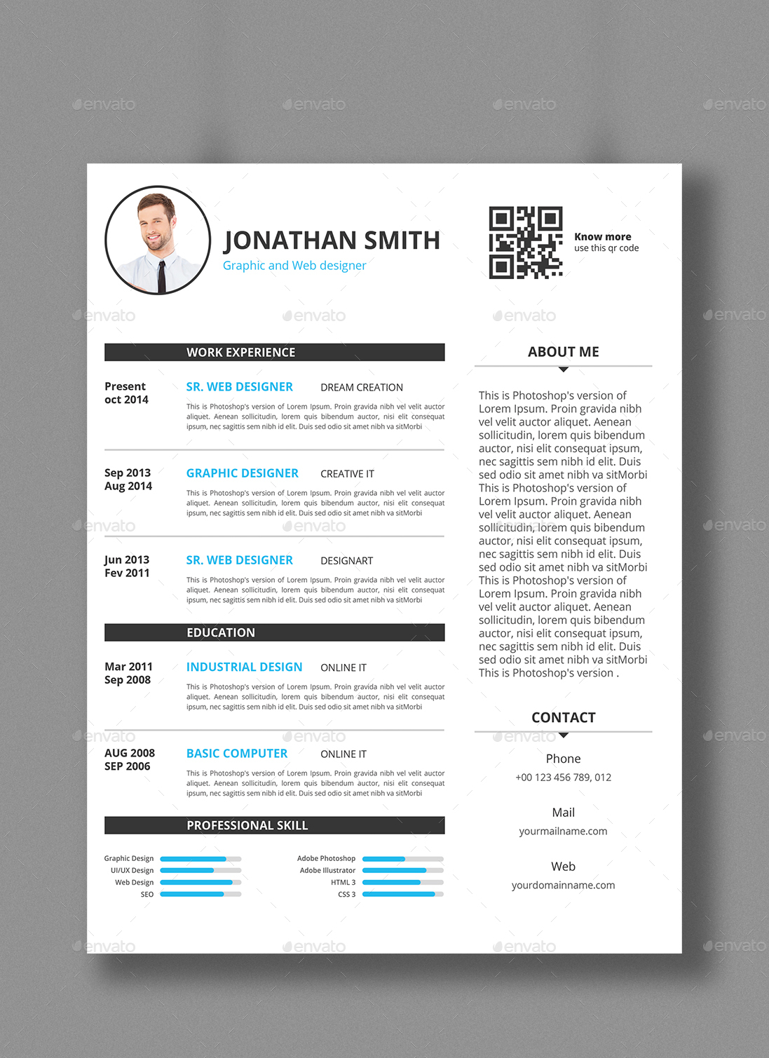 smart resume template by designstemplate graphicriver