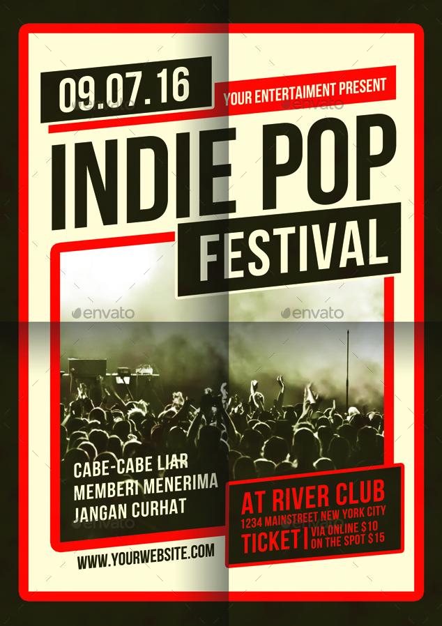 Indie Pop Festival Flyer Template By Muhamadiqbalhidayat Graphicriver