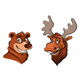 Cheerful Bear and Moose - GraphicRiver Item for Sale