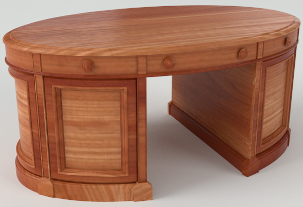 Oval Desk (PBR, UV-textured) - 3DOcean Item for Sale