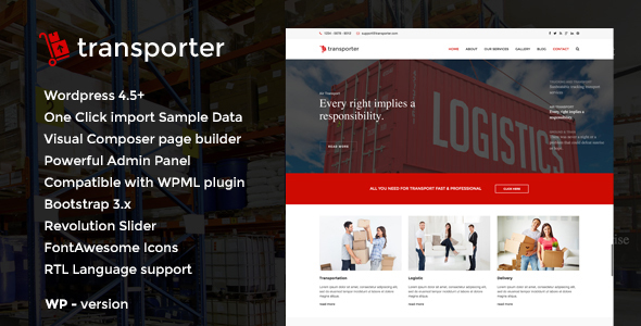 Transporter – Logistic & Transport WordPress Theme