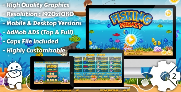 Fishing Frenzy - HTML5 Game, Mobile Version+AdMob!!! (Construct-2 CAPX) - CodeCanyon Item for Sale