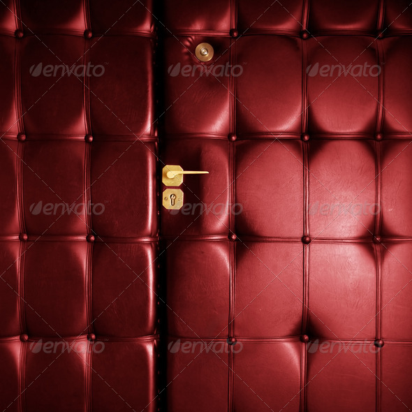 Luxury red leather door in retro style - Stock Photo - Images
