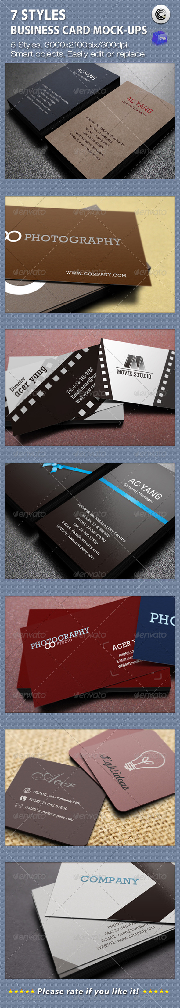 7 Styles Business Card Mock-ups - Business Cards Print