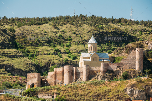Scenic View Of Narikala Fortress And Bethlehem Church In Tbilisi - Stock Photo - Images