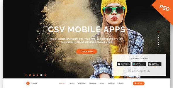 CSV App Landing Page PSD Template