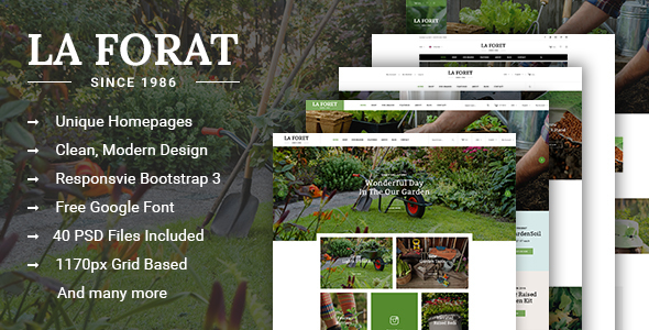 LaForat – Gardening & Landscaping Shop PSD Template
