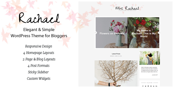 Rachael – Personal Blog WordPress Theme