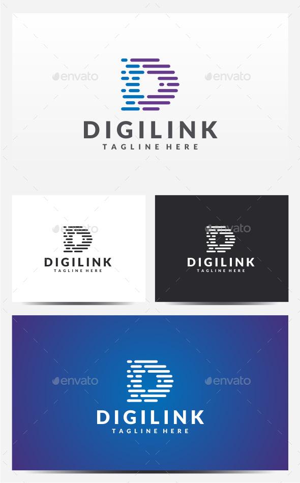 Digilink - Letter D Logo - Logo Templates