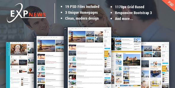 ExpNews – News & Magazine PSD Template