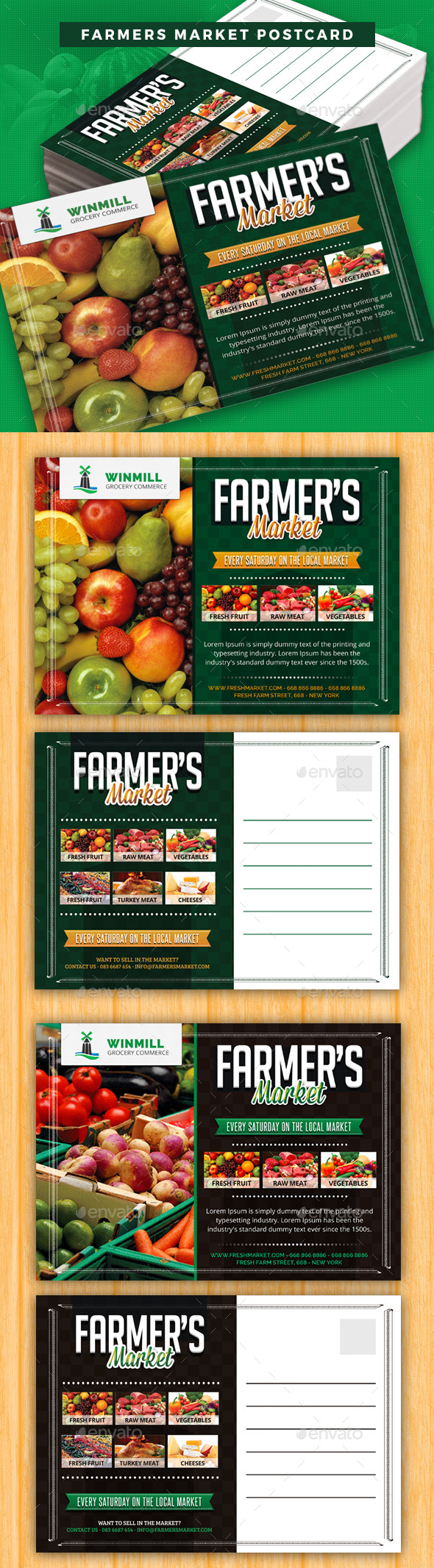 Farmers Market Postcard Template - Cards & Invites Print Templates