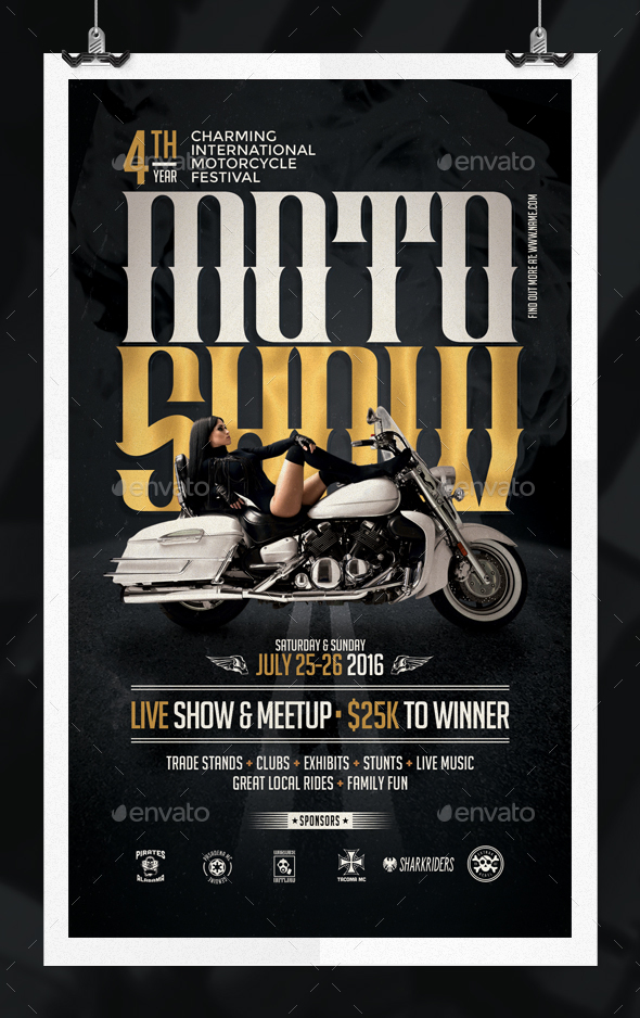 motorcycle show flyer template by eamejia