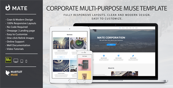 Mate – Corporate and Multipurpose Muse Template