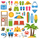 Summer Beach Icon Elements Set - GraphicRiver Item for Sale