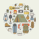 Hiking and Camping Monoline Icon Set - GraphicRiver Item for Sale