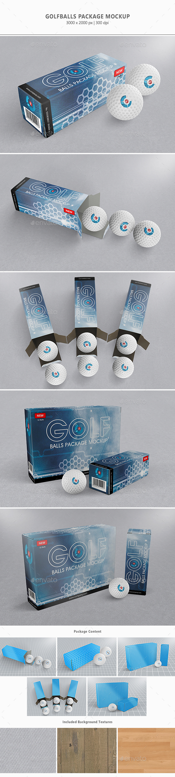 Golfballs Package Mock-up - Packaging Product Mock-Ups