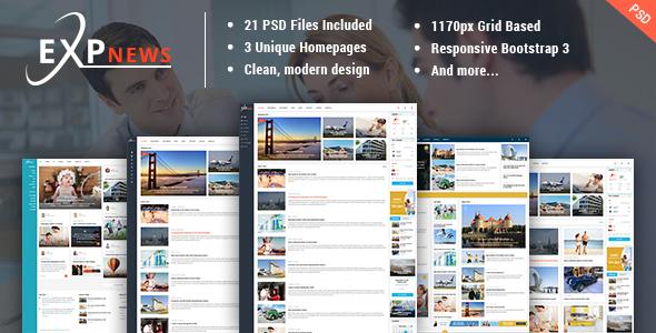 ExpNews - News & Magazine PSD Template - Creative PSD Templates