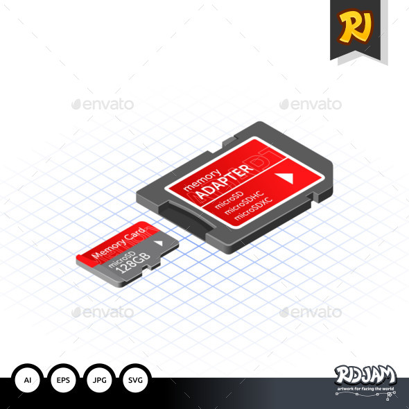 Isometric Memory Micro Secure Digital with Adapter - Media Technology
