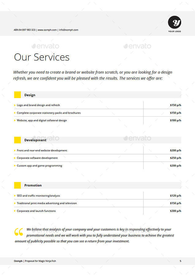 Service Proposal Template One Page Thesis Proposal Example