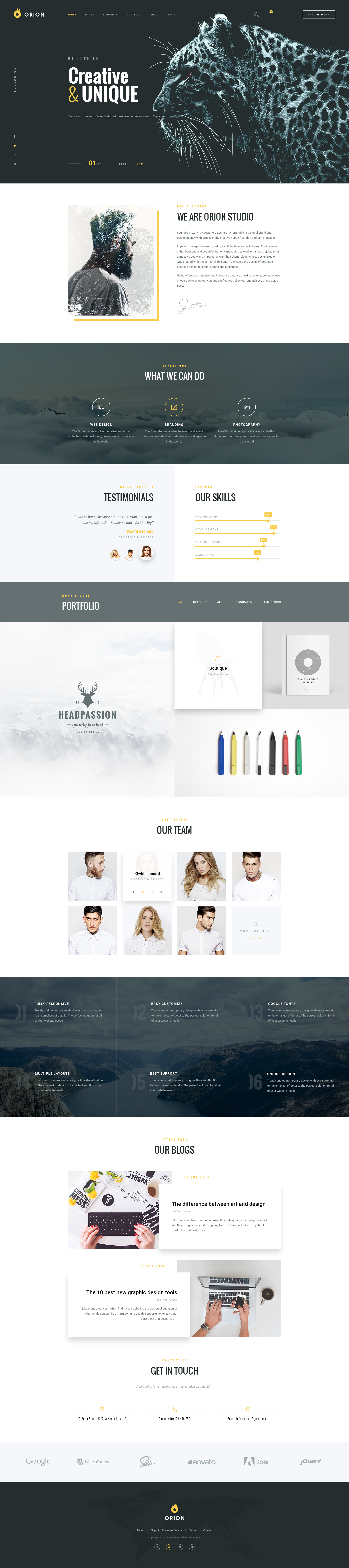 Orion creative multi purpose psd template by leonarddesign orion creative multi purpose psd template toneelgroepblik Image collections