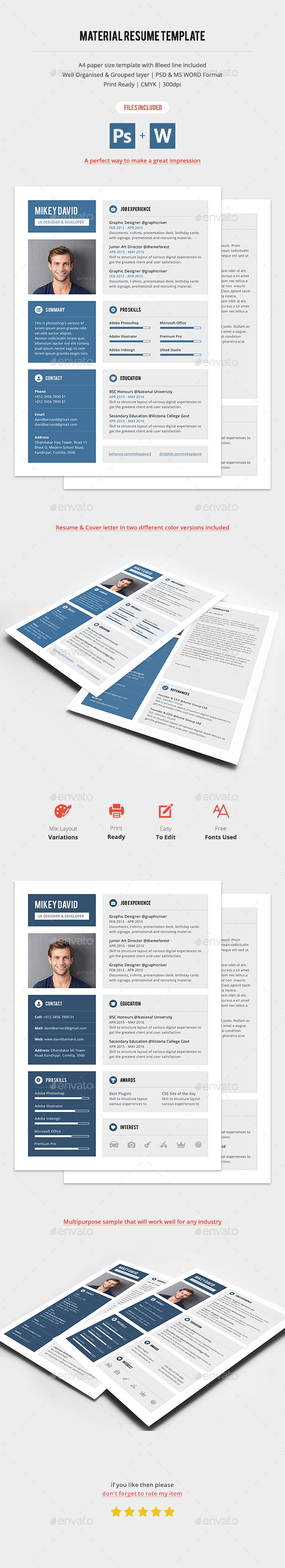 Material CV & Cover Letter - Resumes Stationery