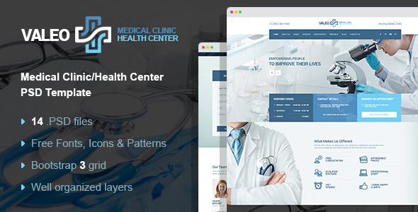 Valeo - health center, clinic & hospital PSD template - Business Corporate