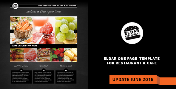 Eldar - Elegant Retina Restaurant & Cafe Template - Food Retail