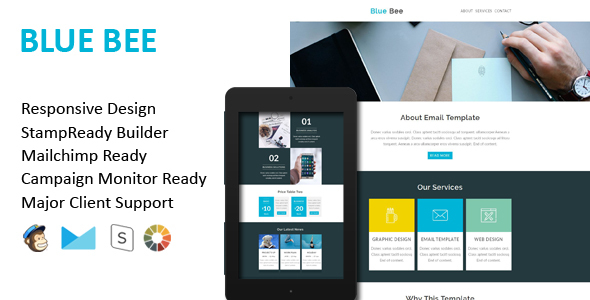 BLUE BEE – Multipurpose Responsive Email Template + Stamp Ready Builder