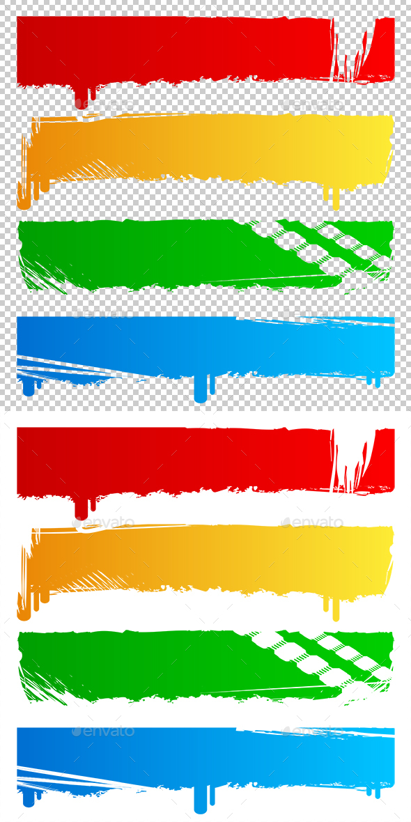 Grungy Colored Banners - Miscellaneous Seasons/Holidays