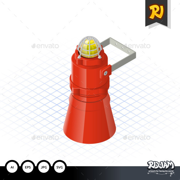 Isometric Beacon with Loudspeaker a Safety Equipment - Man-made Objects Objects