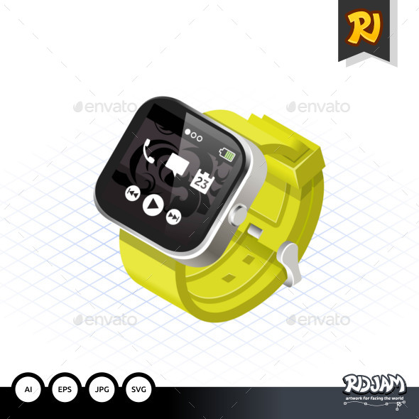 Isometric Modern Smart Watch with Yellow Wrist Band - Computers Technology