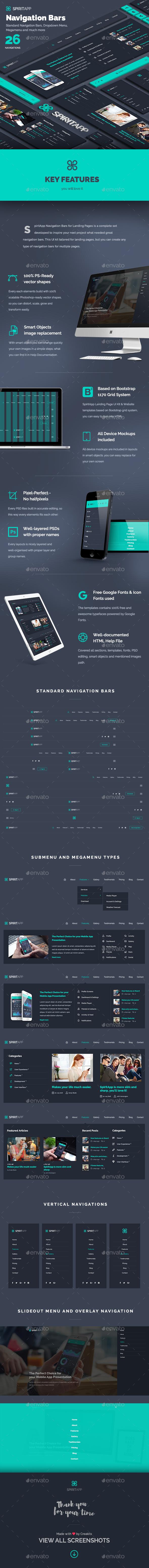 SpiritApp Navigation Bars for Landing Pages - Navigation Bars Web Elements