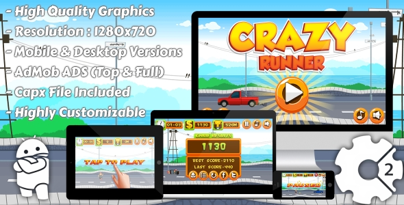Crazy Runner - HTML5 Game, Mobile Version+AdMob!!! (Construct-2 CAPX) - CodeCanyon Item for Sale