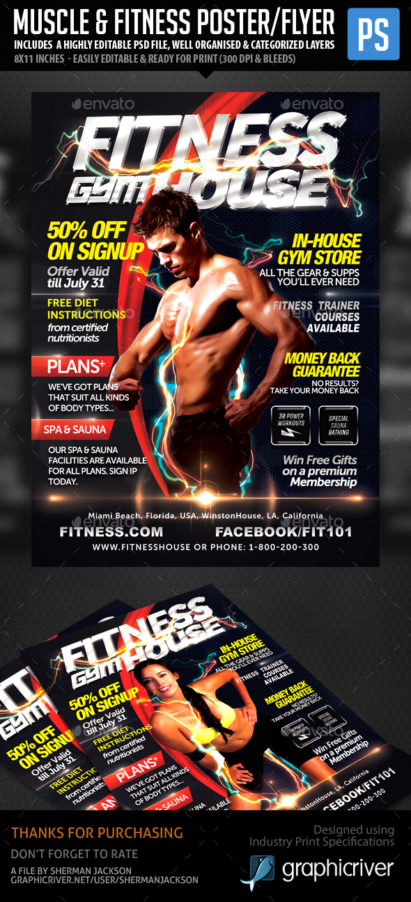 Fitness Flyer Psd Graphics Designs Templates
