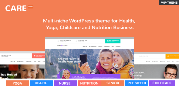 Care – Multi-niche WordPress theme for Health, Yoga, Childcare and Nutrition Business