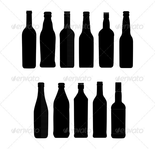 Abstract bottle sign set black color isolated - Abstract Conceptual