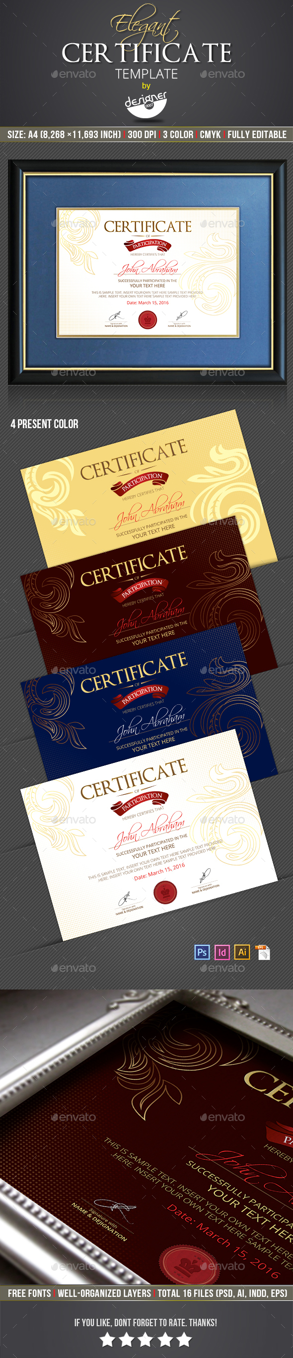 Certificate template by designer0007 graphicriver certificate template certificates stationery yadclub Images