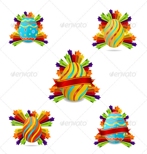 Elegance colored and swirl easter eggs set - Seasons/Holidays Conceptual